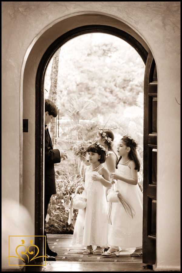 Adorable flowergirls prepare for their moment...