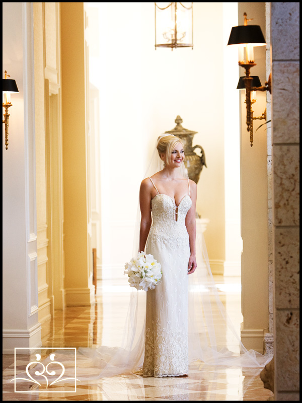 Our bride Stacey...a vision in the stately lobby of the Ritz Carlton in Coconut Grove