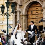 Bride Groom Running Through Birds
